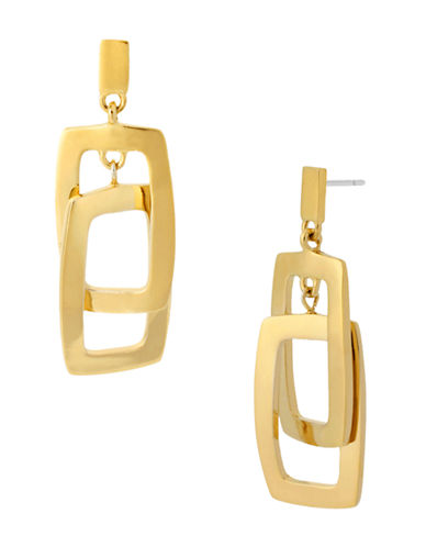 KENNETH COLE NEW YORK Gold-Plated Rectangle Double Drop Earrings