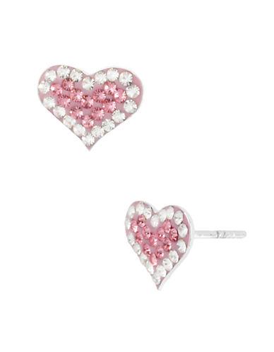 BETSEY JOHNSONPink Crystal Heart Stud Earrings