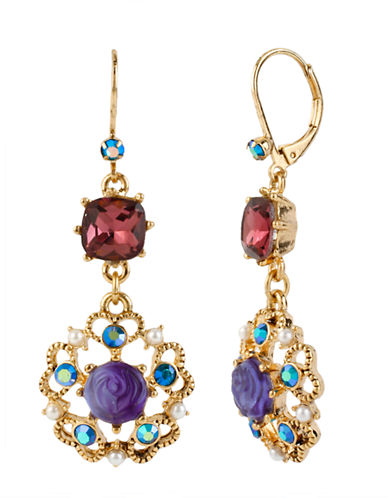 BETSEY JOHNSON Antique Gold-Plated Floral Drop Earrings