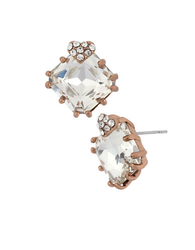 BETSEY JOHNSON Rose Gold Tone and Square Crystal Stud Earrings