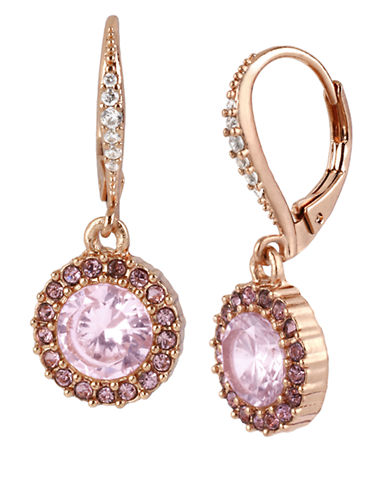 BETSEY JOHNSON Rose Gold Tone and Rose Crystal Round Drop Earrings