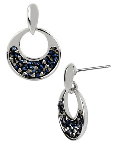 KENNETH COLE NEW YORK Silver-Tone Hoop Earrings with Faceted Bead Decoration