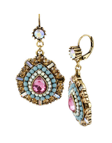 BETSEY JOHNSONMulti Color Crystal and Bead Teardrop Earrings