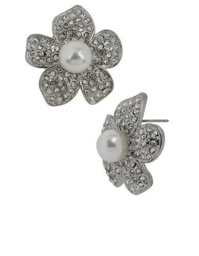 BETSEY JOHNSONCrystal and Pearl Flower Stud Earrings