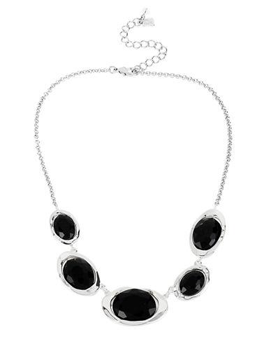 ROBERT LEE MORRIS SOHOSilver Tone and Black Crystal Bead Frontal Necklace