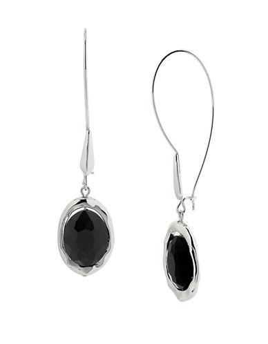 ROBERT LEE MORRIS SOHOSilver Tone and Black Crystal Drop Earrings