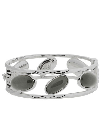 ROBERT LEE MORRIS SOHO Hammered Silver-Tone Bead Bangle