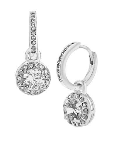 BETSEY JOHNSON Silver Tone and Cubic Zirconia Round Drop Earrings