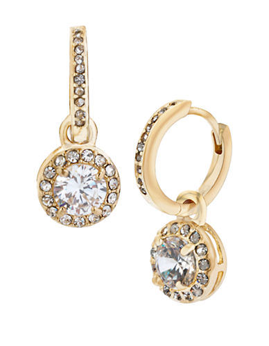 BETSEY JOHNSON Gold Tone and Cubic Zirconia Round Drop Earrings
