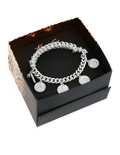KENNETH COLE NEW YORKBoxed Silver Tone Pave Shaky Circle Stretch Bracelet