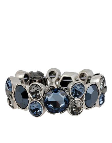 KENNETH COLE NEW YORKSilver Tone and Multi Blue Stone Stretch Bangle Bracelet