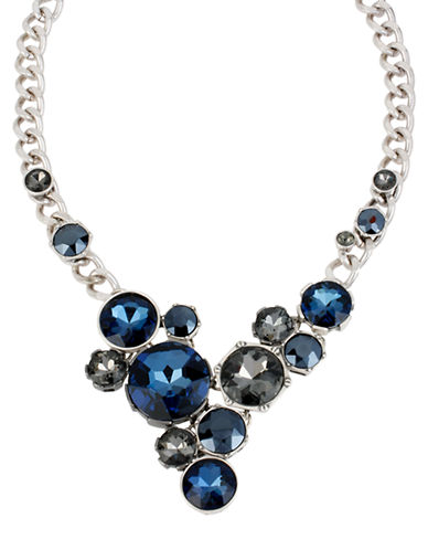 KENNETH COLE NEW YORKSilver Tone and Multi Blue Crystal Bib Necklace