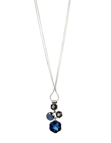KENNETH COLE NEW YORKSilver Tone and Blue Crystal Cluster Pendant Necklace