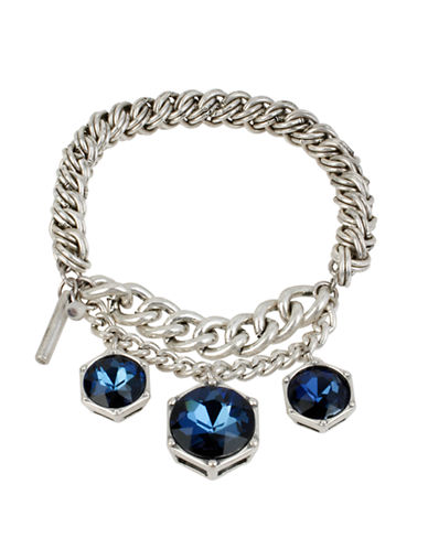 KENNETH COLE NEW YORKSilver Tone Mixed Chain and Blue Stone Stretch Bracelet