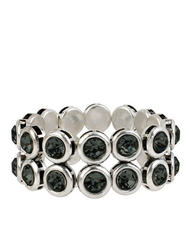 KENNETH COLE NEW YORKSilver Tone and Black Diamond Colored Two Row Bracelet
