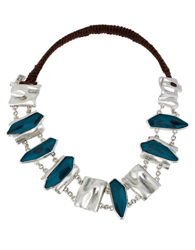 ROBERT LEE MORRIS SOHOFaceted Bead and Silver Tone Pendant Frontal Necklace