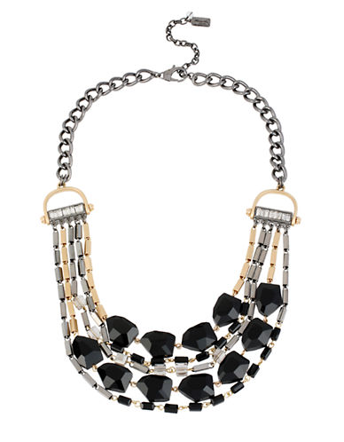 KENNETH COLE NEW YORK Mixed Geometric Faceted Bead Multi Row Necklace