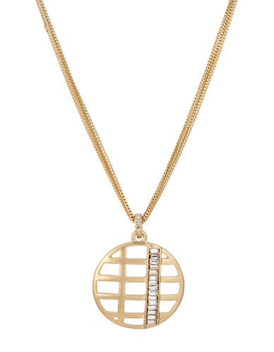 KENNETH COLE NEW YORK Gold Tone Cut Out Circle Pendant Necklace