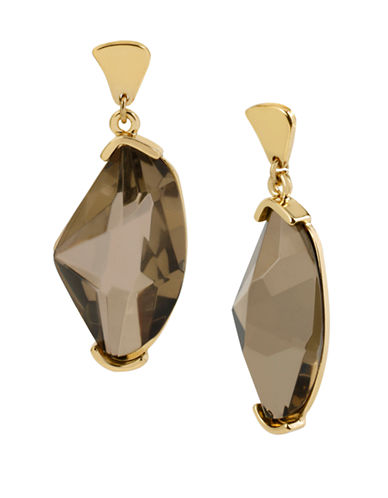 ROBERT LEE MORRIS SOHO Gold Plated Faceted Stone Drop Earrings