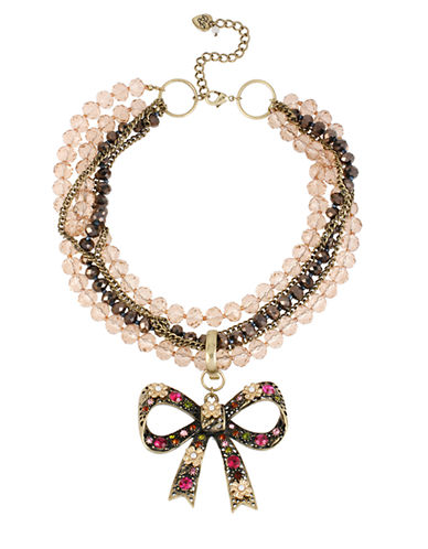 BETSEY JOHNSONCherry Bead Torsade Necklace with Crystallized Bow Pendant