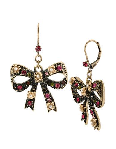 BETSEY JOHNSONCrystallized Bow Drop Earrings