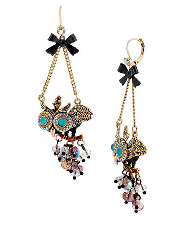 BETSEY JOHNSONCrystallized Owl Chandelier Earrings