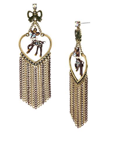 BETSEY JOHNSONDeer Charm and Multi Chain Drop Earrings