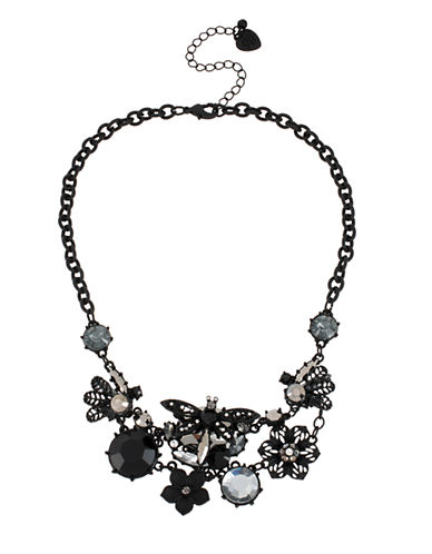 BETSEY JOHNSON Blackout Dragonfly Flower Cluster Necklace