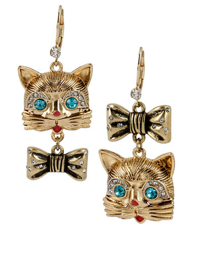 BETSEY JOHNSONGold Tone Cat and Bow Mismatch Drop Earrings