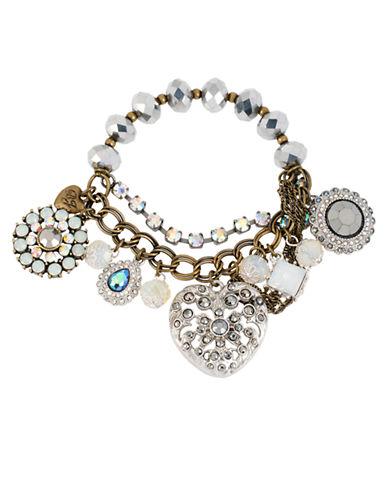 BETSEY JOHNSONMixed Heart and Crystal Multi Charm Stretch Bracelet