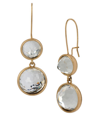 KENNETH COLE NEW YORK Gold Tone and Faceted Stone Double Drop Earrings