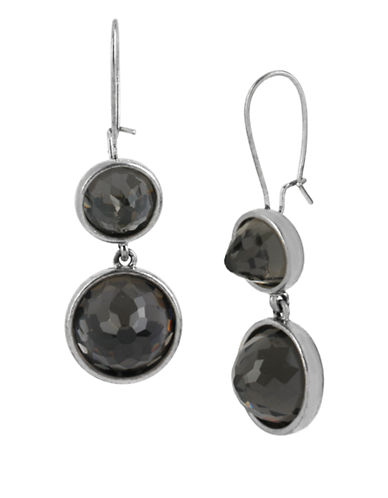 KENNETH COLE NEW YORK Silver Tone and Faceted Stone Double Drop Earrings