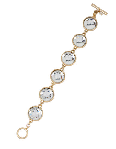 KENNETH COLE NEW YORK Gold Tone and Faceted Bead Line Bracelet
