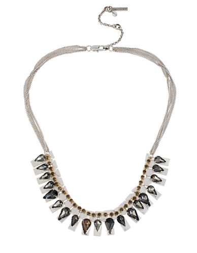 KENNETH COLE NEW YORK Black Crystal Faceted Bead Geometric Frontal Necklace