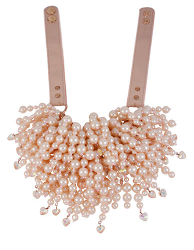 BETSEY JOHNSON Faux Pearl Strand Frontal Necklace