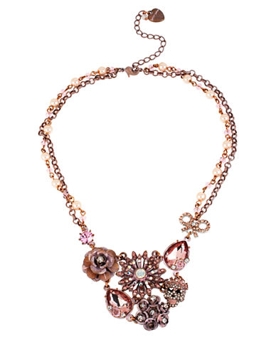 BETSEY JOHNSONPatina Flower and Skull Cluster Frontal Necklace
