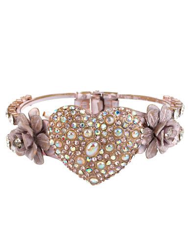 BETSEY JOHNSONPatina Crystallized Heart Bangle Bracelet