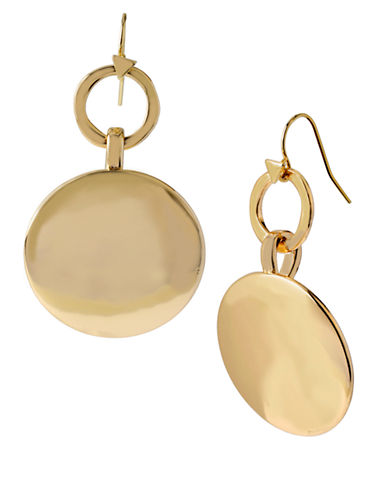 ROBERT LEE MORRIS SOHO Gold Plated Ring and Disc Drop Earrings