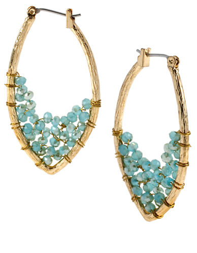 KENNETH COLE NEW YORK Gold-Tone Faceted Oval Hoop Earrings