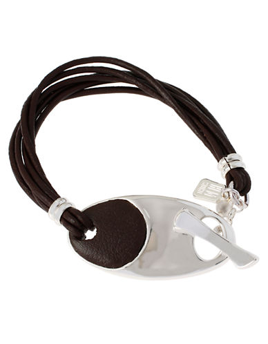 ROBERT LEE MORRIS SOHO Silver-Tone and Leather Toggle Bracelet