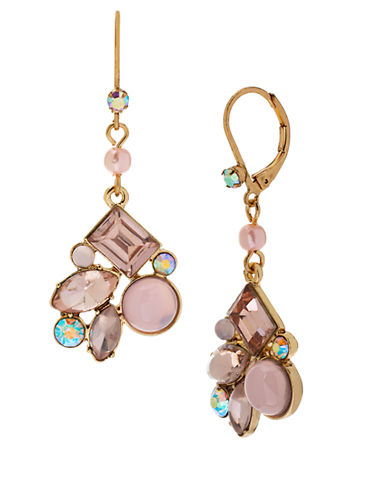 BETSEY JOHNSONPink-Hued Cluster Drop Earrings