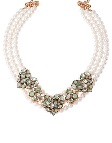 BETSEY JOHNSON Mint Mixed Bead Cluster Heart Frontal Faux Pearl Necklace