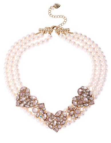 BETSEY JOHNSON Pink Mixed Bead Cluster Heart Frontal Faux Pearl Necklace
