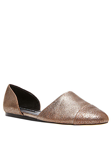 STEVEN BY STEVE MADDEN Saxon Metallic Capped Leather Flats