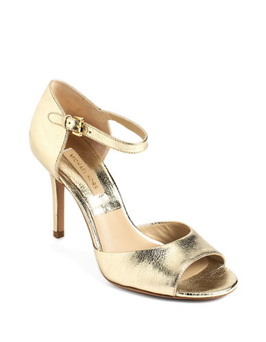 MICHAEL KORS Malia Metallic Leather Sandals