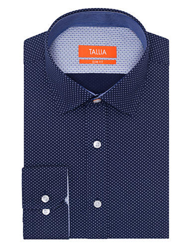 TALLIA ORANGE Slim Fit Dot Dress Shirt