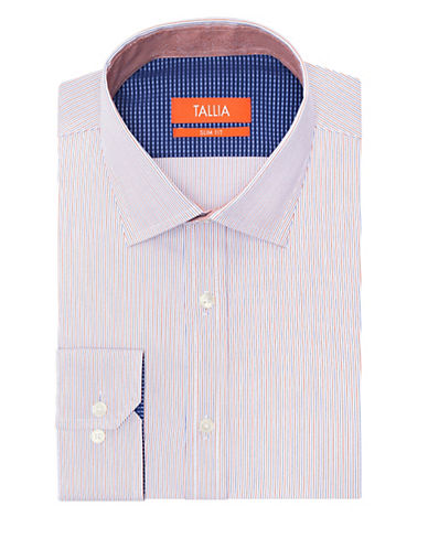 TALLIA ORANGE Slim Fit Pinstripe Dress Shirt
