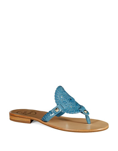 JACK ROGERS Georgica Leather Sandals with Whipstitch Accents