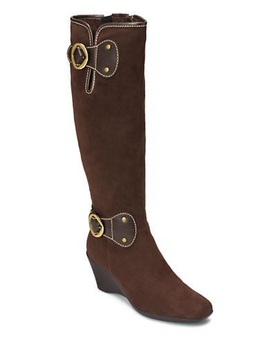 AEROSOLES Wonderling Faux Suede Wedge Boots