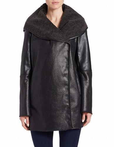 SAM EDELMANFaux Fur-Trimmed Faux-Leather Coat